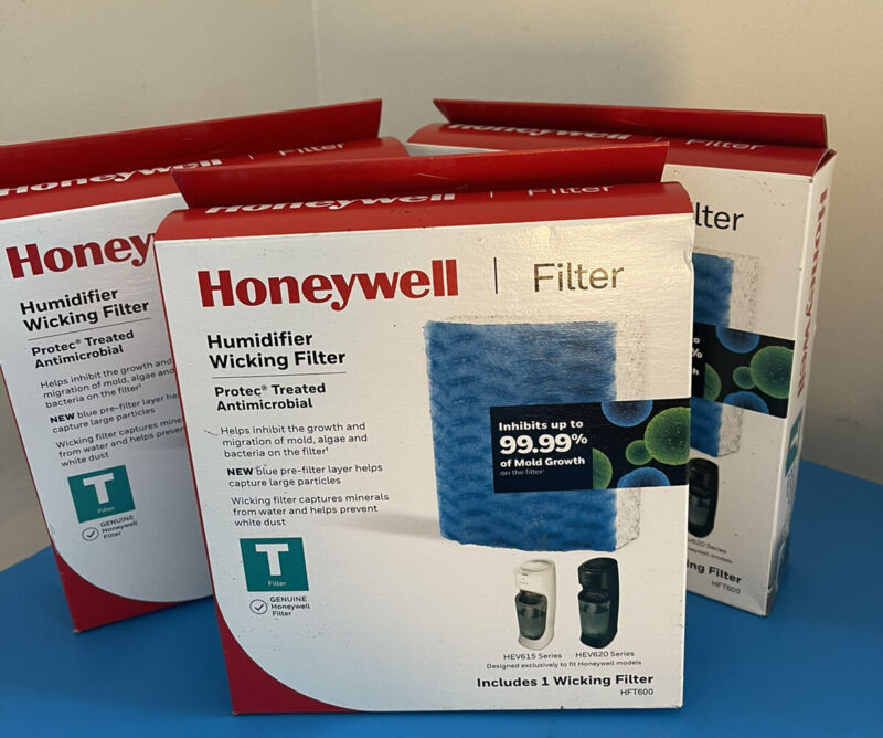 3 Packs Of Honeywell T-HFT600 Humidifier Wicking Filters