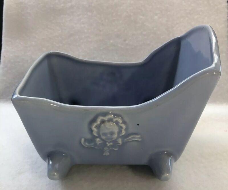 Vintage Light Blue Cradle Ceramic Planter Baby Bassinett
