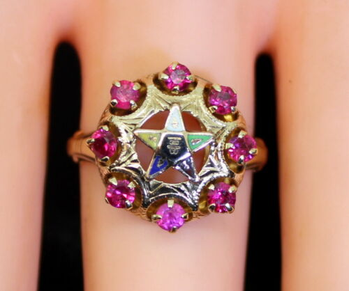 Antique 10K Gold Enameled Order of the Eastern Star .40 Ct Ruby Ring Size 7.75