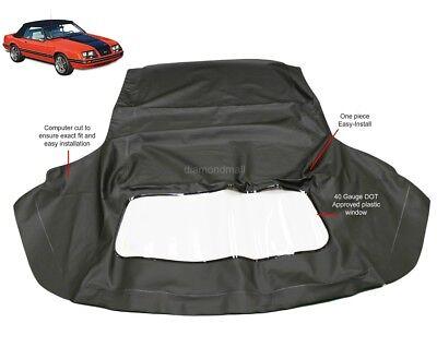 Ford Mustang 1983-1993 Convertible Soft Top & Plastic Window Black Vinyl