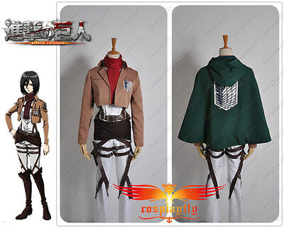 Hot Attack on Titan The Recon Corp Mikasa Ackerman With Cloak Cosplay Costume (Recon Corps Kostüm)