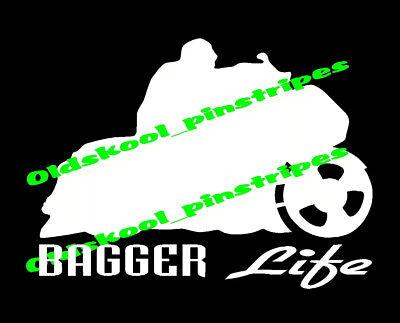 Bagger Big Wheel Stretched Bags Motorcycle Custom Vinyl Decal Window Sticker