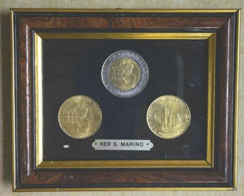 Republic of San Marino Rare 3 Coin Set In Display Frame LIBERTAS