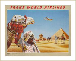 EGITTO-GIZA-Piramidi-e-Sphynx-Vintage-TWA-Poster-Di-Viaggio-misure-A2-A3-A4