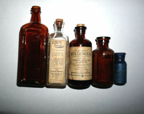 5 Vintage Glass Medicine apothecary Bottles Piso