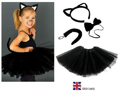 Kids WITCHES BLACK CAT Fancy Dress Halloween Costume TUTU Ears Accessory Set (Black Cat Fancy Dress Kostüm)