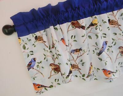 TB~BLUE~BIRDS~Valance~Valence~Curtain~Window~TOPPER~Nature~Kitchen~11 1/2