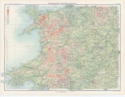 c1885 Large Map OROGRAPHICAL FEATURES E ENGLAND Hereford Derby Bartholomew (RA9)