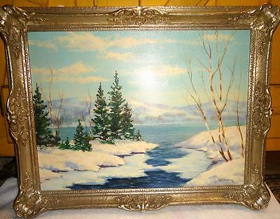 George Fletcher Oil On Board Winter Landscape Canada Canadian Listed Artist