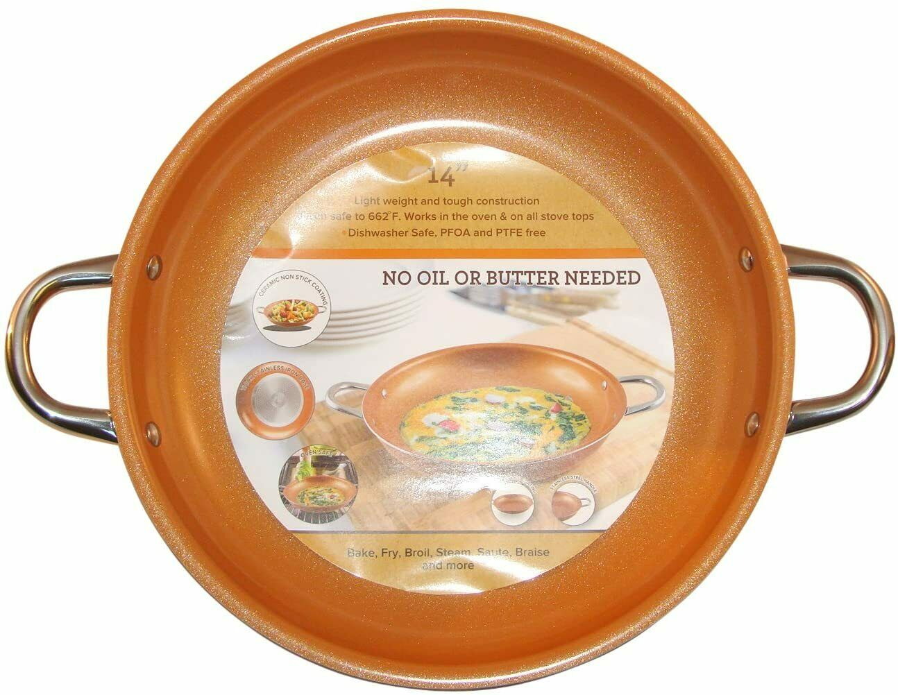 Copper Frying Pan 14-Inch Non Stick Ceramic Infused Titanium Steel Oven Safe - $60.25