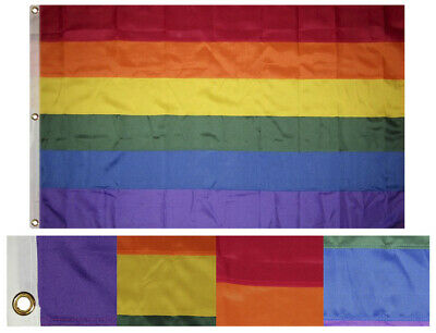 4x6 Embroidered Sewn Gay Pride Rainbow Synthetic Cotton Flag 4'x6' w/ Clips