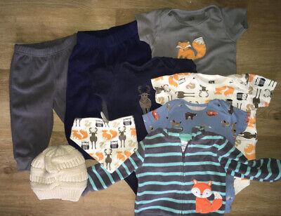 9 Piece Gender Neutral/Boy's Clothing Lot Woodland Animals 9-12 Months
