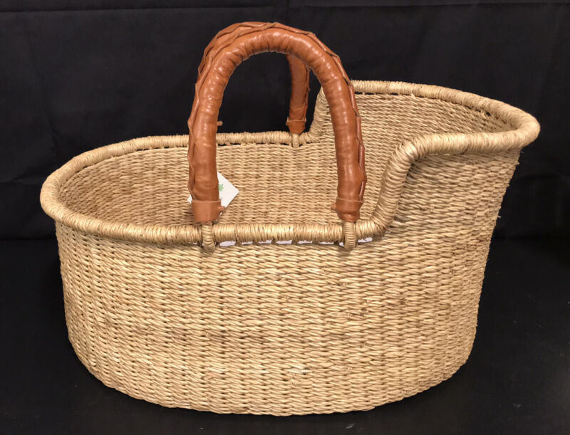 """NWT Design Day Playtime Doll Bilia Woven Basket Leather Handles 19 X 14"""""""