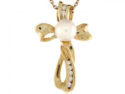 14k Yellow Gold Cultured Pearl Accent Beautiful Cross Ladies Pendant Cultured Pearl Yellow Cross