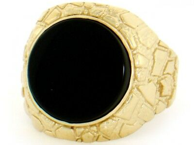 14k Gold Mens Onyx Ring (10k or 14k Solid Yellow Gold Nugget Round Onyx Mens Ring )