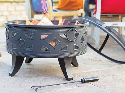 Large Fire Pit Garden Patio Black Steel Campeche Heater Steel BBQ Outdoor Burner