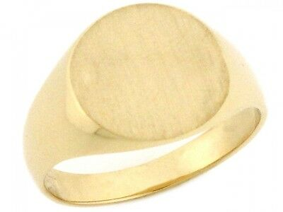 10k or 14k Solid Gold Round Signet Young Mens Boys Ring 14k Signet Mens Ring