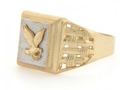 10k or 14k Solid Two Tone Gold Eagle High Polish Mens Ring ()