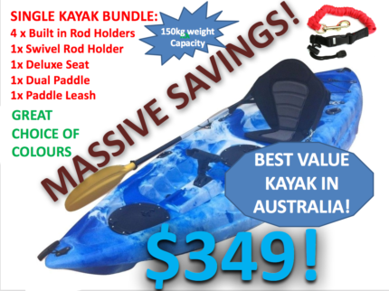 NEW Single Seat Kayak Package 2.7m Lifetime Warranty NEW STOCKS!