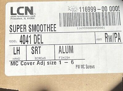 Lcn 4041 Del Reg Srt Aluminum Finish Closer Reversible Adj 1-6 Super Smoothee