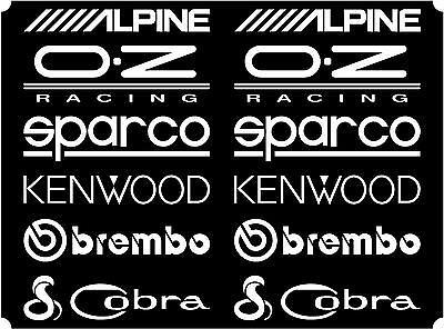 12 White Car Door Stack  Sponsor Logo Stickers,Graphics,Decals set 1