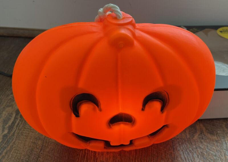 Blinky Jack-o-Lite Electric Pumpkin Vintage Halloween Flat Hanging Blow Mold