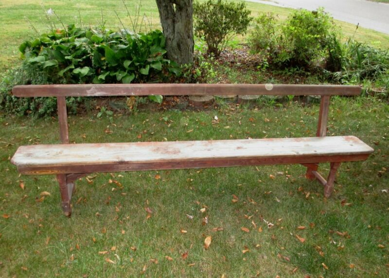 Antique Farmhouse Pine Bench  Mortise Tenon Wood Peg Construction 8