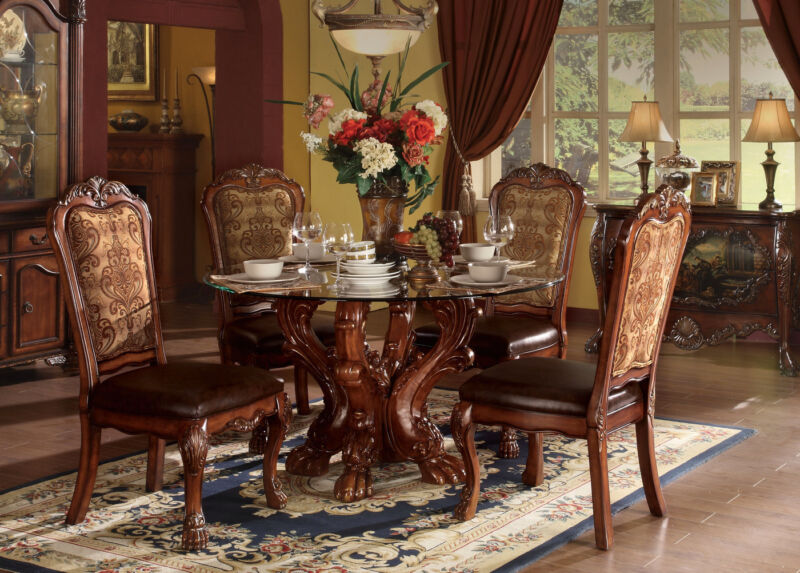 "Dresden Carve Wood 54""round Glass Dining Room Table&4 Chair Set Cherry Oak Brown"