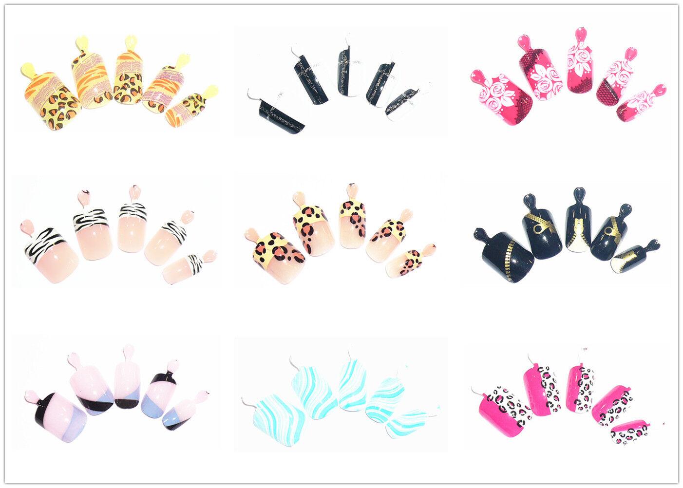 12 selbstklebende Airbrush Nails Kunstnägel Nägeln Pre-Glued French FL-01 Set