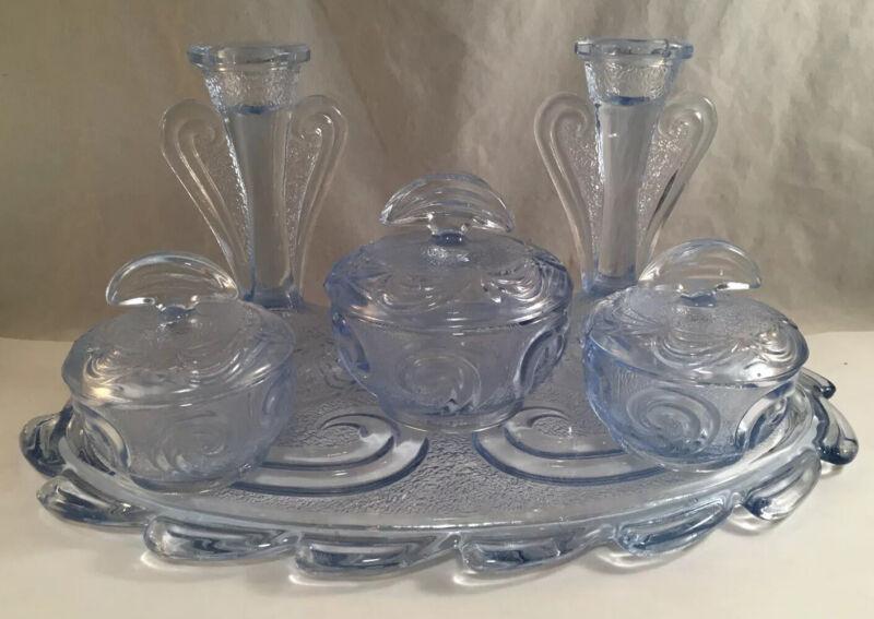 VINTAGE DEPRESSION GLASS BAGLEY RUTLAND DRESSER VANITY SET BLUE TINTED ART DECO