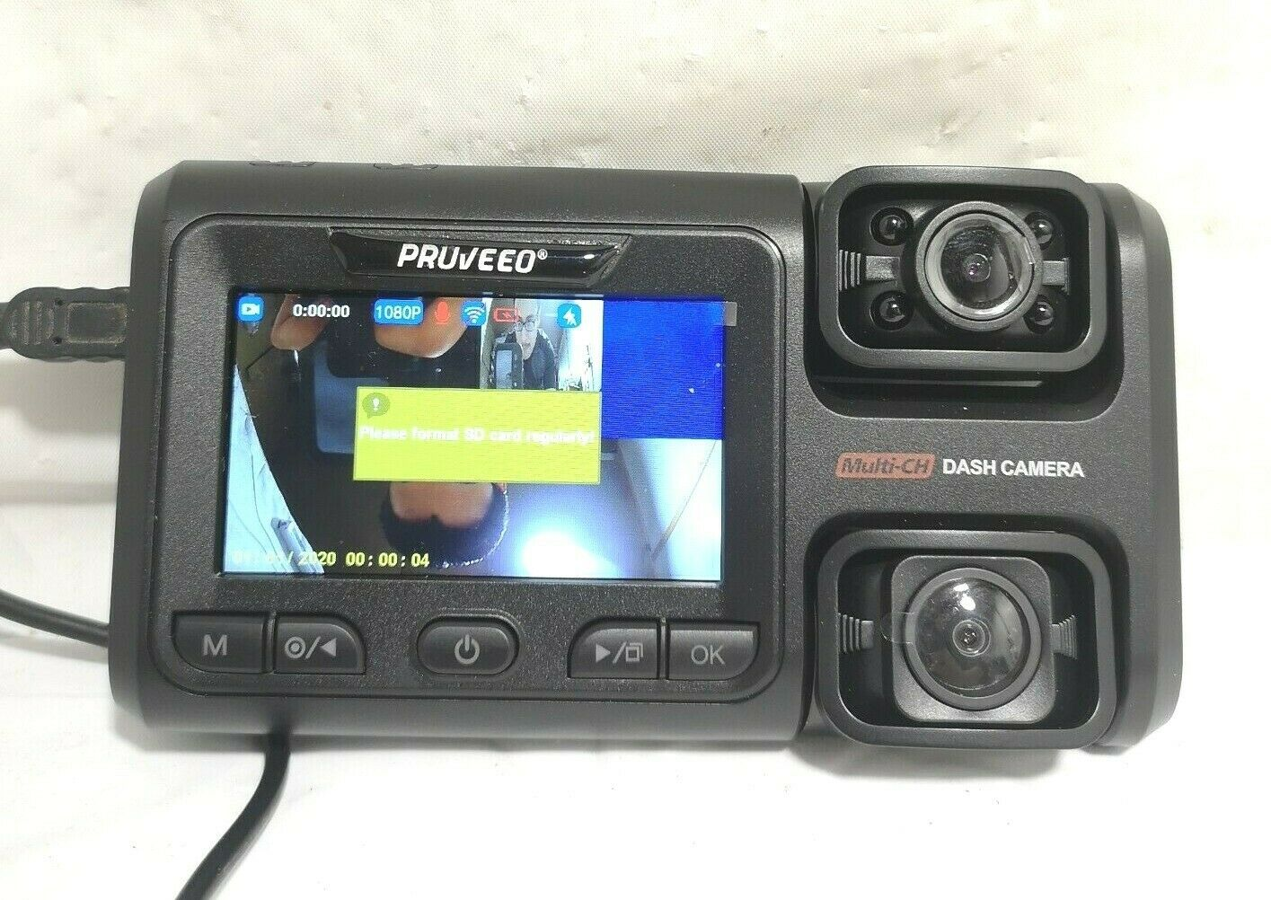 Pruveeo  Dash Cam with Infrared Night Vision and WiFi, Dual