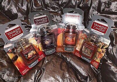 Yankee Candle Car Jar Lot Fall Scents 4 Pc Apple Spiced Pumpkin Enchanted Moon +