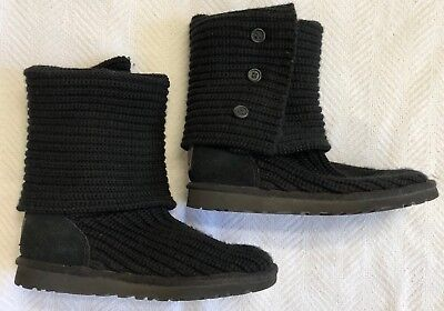 Ugg Black Classic Knit Cardy Boots With 3 Buttons Sz 5 LKNW for sale  West Hills