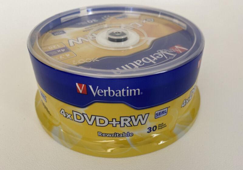 Verbatim 94834 Blank 4X DVD+RW 4.7GB Rewritable DVD Disc 30 Pack