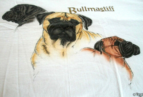 "Bullmastiff T-shirt  "" White "" MED ( 38 - 40 )"