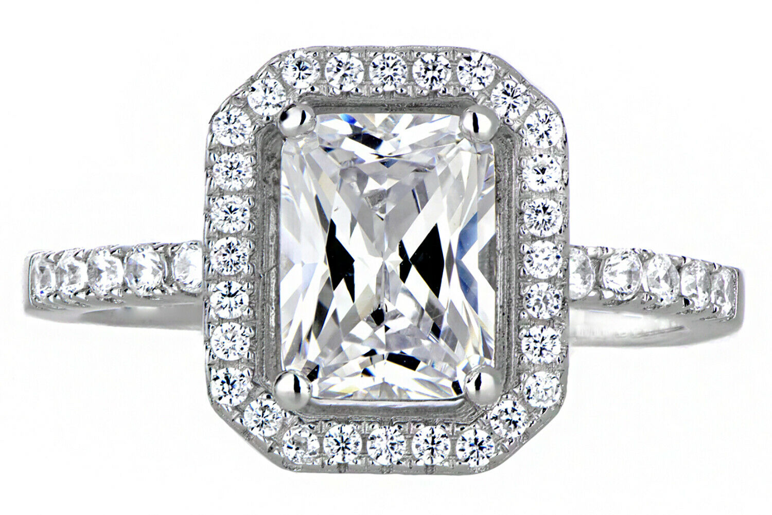 2.20Ct. Natural Radiant Cut  Halo Diamond Engagement Ring- GIA Certified