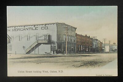 1900s Union Street looking West Old Stores Mercantile Co. Oakes ND Dickey Co (Union Street Stores)