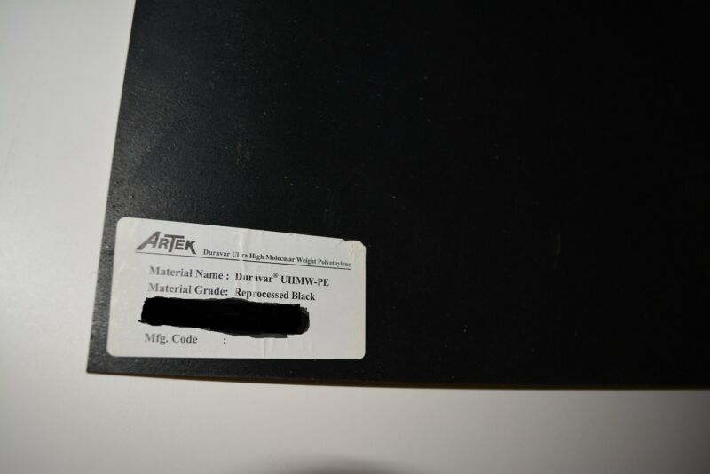 "UHMW Sheet 3/8"" Polyethylene Plastic Black 3/8"" x 6"" x 6"""