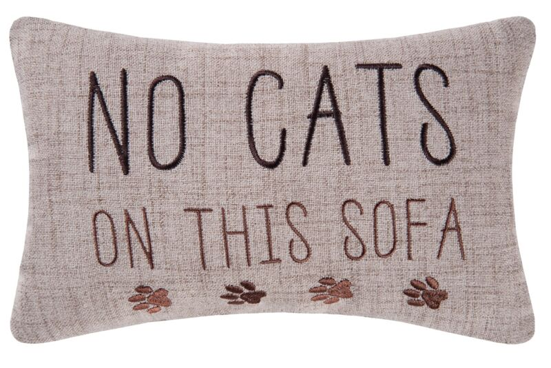No Cats On This Sofa Paw Prints Funny Accent Throw Pillow 11.5 Inches