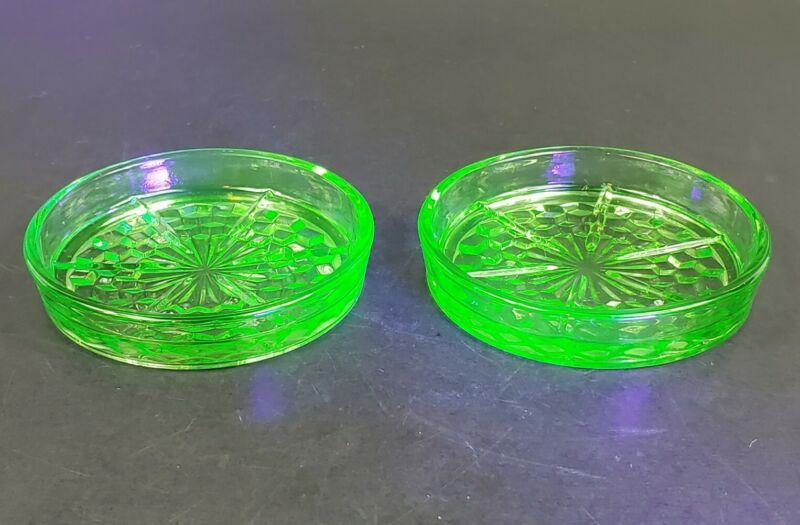Set of 2 Jeannette Glass Co CUBE CUBIST Green Uranium Depression Coasters EUC