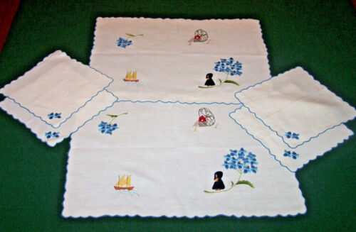 2 VINTAGE FIGURAL LINEN PLACEMATS, DUTCH EMBROIDERED THEME: WINDMILL, 4 NAPKINS
