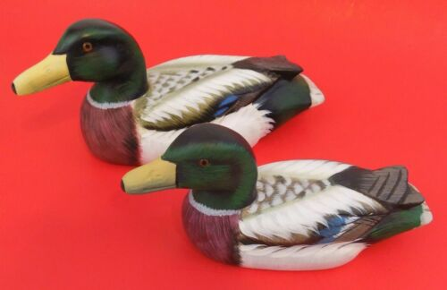 Lot Of 2~Wooden Carved Ducks~Mallard~Painted~Decorative~Cabin~Lake~Cottage Decor