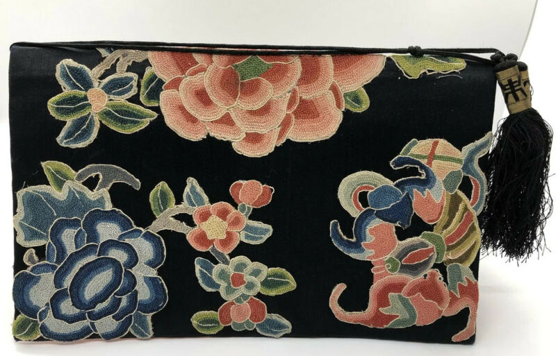 Antique Vintage Embroidered Forbidden Stitch Chinese Purse Bag Handbag Silk