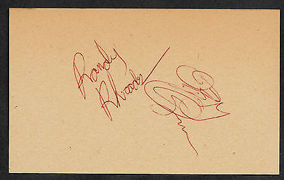 Randy Rhoads Autograph Reprint Appears Authentic On Old 1980s 3x5 card
