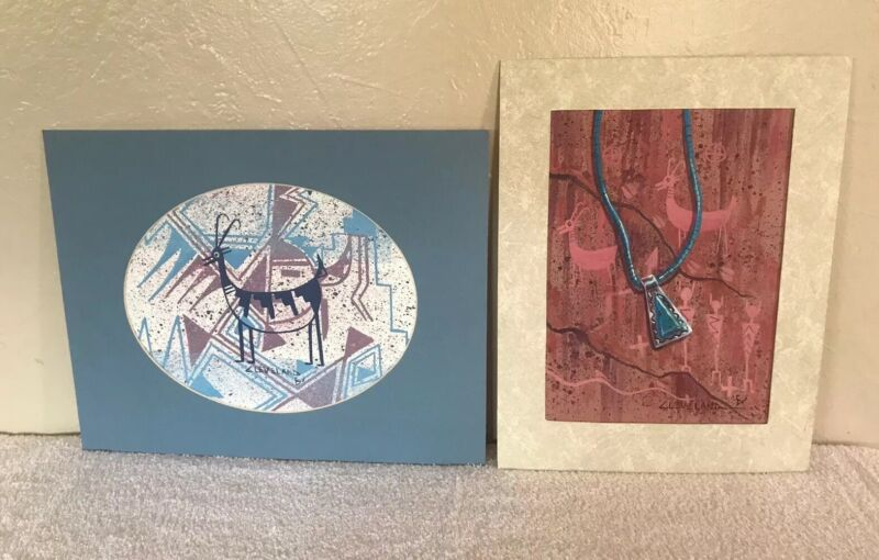 Lot Of 2 - Original Painting By Navajo Artist Fred Cleveland. Native American