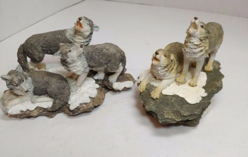 SET OF 2 WOLF FIGURINES 1 WESTLAND MUSICAL & A TRIO OF WOLVES FIGURE