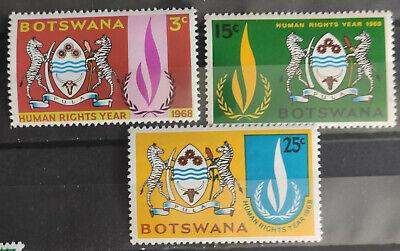 Botswana 1968 SG241-3, Human Rights Year MNH