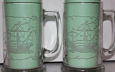 Two Glass Beer Mugs Christopher Columbus - Santa Maria 1492 Ship Wreck X-mas Eve
