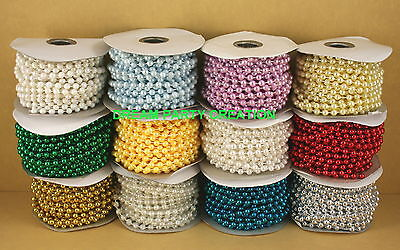 6mm Faux Pearl Plastic Beads On A String Craft Roll 12 Yds Choose From 12 Colors