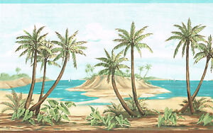 TROPICAL-PALM-TREES-ON-THE-BEACH-10-1-4-inches-wide-Wallpaper-bordeR-Wall